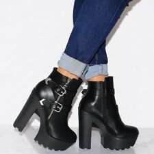 BLACK CONCEALED PLATFORMS CHUNKY ANKLE BOOTS BIKER HIGH HEELS SHOES SIZE UK 6