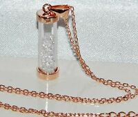 9ct Rose Gold on Silver Barrel of Diamond's Dropper Pendant & Chain / Necklace
