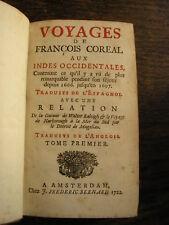 VOYAGES de François COREAL aux INDES Occidentales 15 gravures et cartes 1722