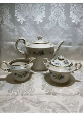 Aberdeen China, Teapot,Creamer And Sugar Bowl Set Floral Gold.