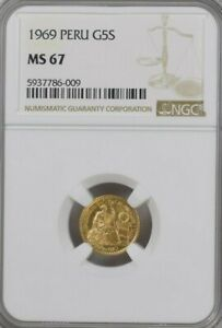 NGC MS67 1969 Peru, 5 Soles Gold Coin.! GEM BU.!