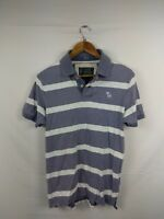 Mens Abercrombie And Fitch Grey White Striped Polo Shirt Size Large #4K2