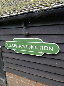 CLAPHAM JUNCTION totem enamel sign British Rail railway CLAPHAM sign UK Station