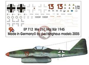 """Peddinghaus 1/72 Me 262 A-1a """"Red 13"""" Markings Heinrich Bar EJG 2 Lechfeld 712"""