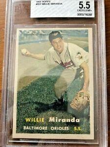 1957 Topps Baseball Card #151 Willie Miranda BVG 5.5