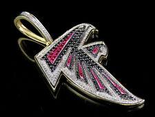 "10k Yellow Gold Genuine Diamond Ruby Atlanta Falcons NFL Dirty Bird Pendant 2"""