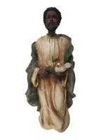 "Black Jesus Resin Figurine 8"" Tall Holding Flowers And Bird"