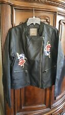 MAURICES FAUX LEATHER JACKET WITH ROSE PATCHES  XL NWT