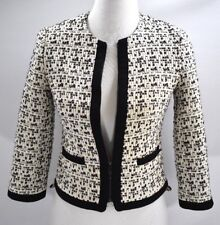 Vince Camuto Women's Tweed Cropped Blazer Black & White Lined Sz 2 Petite