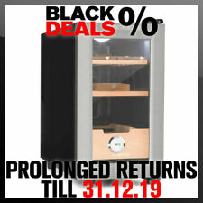 Cigar Humidor 100-150 Cigars Cabinet 50 W Touch Beech Wood 23l LED Black