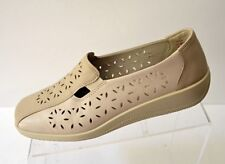 HOTTER Rimini Women's 8/ UK 6 Perforated Leather Loafer Shoes Beige