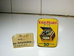 Rare Boîte 50 Aiguilles Gramophone EVER READY 1950 Phono Needles Tin Nadeldose
