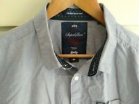SuperDry Blue Cotton Button Up Long Sleeve Men's Casual Shirt Size XL