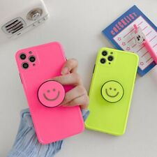 Simple Fluorescent Smiley Face Bracket Fashion Phone Case Cover For iPhone11 Pro