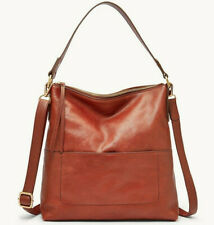 Fossil Amelia Leather Hobo Brandy Crossbody Shoulder Strap Purse