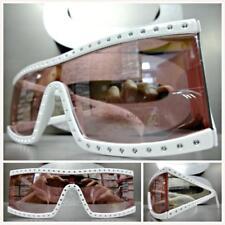Classic Vintage Retro Style SUN GLASSES Bling Rectangular White Frame Pink Lens