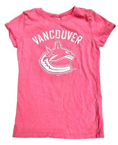 Vancouver Canucks Pink T-Shirt Girls Youth Size Large 10/12 Top Orca White Logo