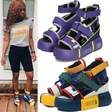 Sandals Women Leather Sport Sandals Chunky Platform Wedges High Heel Gladiators