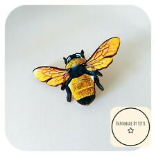 Yellow Honey Bee Pin Badge 🐝Wooden ✨Handmade 🌟 large 50mm