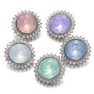 5PCS Bling Crystal Chunk Charm Snap Button Fit 18mm Snap Jewelry 46