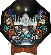 "12"" Black Marble Octagon Coffee Table Top Taj Mahal Floral Inlay Decor Art H5669"
