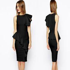 Sz M 10 12 Sleeveless Black Ruffle Prom Cocktail Party Slim Fit Club Dress