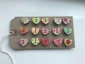 15 x Handcrafted shabby chic Heart notice cork message board pins 15mm