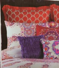 Anthology Melody European Embroidered Pillow Sham Jewel Coral Red Gray