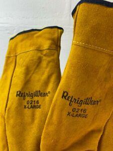 RefrigiWear Sherpa Lined Three Finger Split Cowhide Leather Mitten Gloves XL NEW