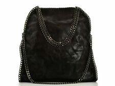 Borsa a tracolla donna spalla colore Nero Con Catene argento Bag Grande borse