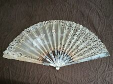 "Antique Handmade Bobbin Lace Hand Painted Carved Mop 15"" Sticks Hand Fan AsFound"