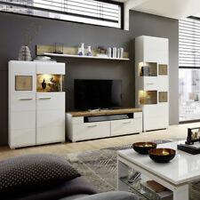 Wohnwand Fun Plus Wohnzimmer Anbauwand weiß matt Eiche Altholz Hirnholz mit LED
