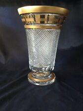 Bohemia Crystal Hand Cut 14'' Tall Vase decorated double gold