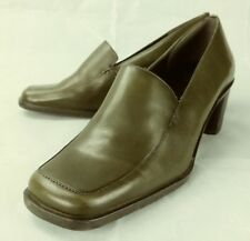 Nine West Wos Shoes Loafers Heels BARR US 5.5 M Green Leather Moc Toe Work 87