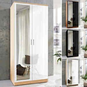 2 Door Wardrobe With Mirror High Gloss Large Storage Cupboard Bedroom Furniture