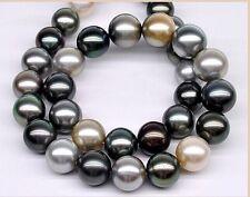 "South sea genuine multicolor pearl necklace black white gray huge 20""10-12mm"