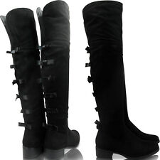 NEW WOMENS LADIES LOW HEEL BLOCK OVER KNEE THIGH ZIP BOOTS SHOES SIZE CASUAL