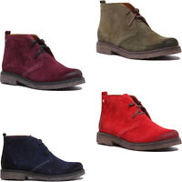 Justin Reece England Soft Suede Casual Desert Boots In Red Size UK 3 - 8