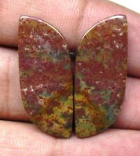 NATURAL BLOOD STONE CABOCHON FANCY SHAPE PAIR 21.30 CTS LOOSE GEMSTONE D 5818