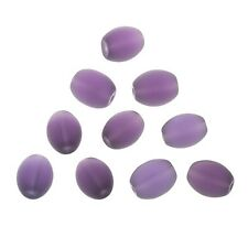 Transparent Frosted Purple Oval Glass Bead 12x10mm Pack of 10 (A100/2)