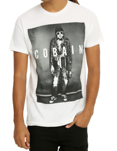 Nirvana KURT COBAIN LEOPARD JACKET PHOTO T-Shirt White NWT Licensed & Official