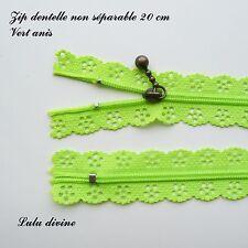 Zip/ Fermeture éclair dentelle non séparable de 20 cm, Couleur Vert anis