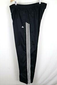 Adidas Mens sz XXL Black Nylon 3 Stripe Lined Ankle Zipper Track Pants