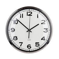 Premier Housewares Modern Wall Clock, Round Silver Metal, Large Numbers
