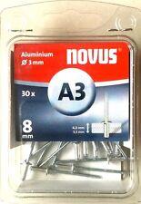 Novus Blindniete 'A3' L: 8 mm Ø 3 mm Aluminium 30 Stück 045-0021