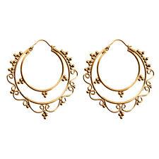 81stgeneration Brass Gold Tone Ethnic Round Tribal Hoop Large Earrings