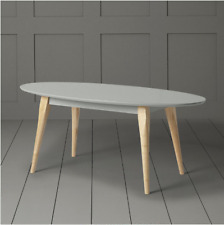 New Contemporary Compact Oak & Taupe Grey Oval Coffee Table *Ex Tesco*