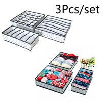 3Pcs/set  Closet Organizer Box Underwear Bra Sock Scarves Storage Drawer Divider