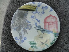 Lenox Collage Peony Yellow Blue Gray Flowers Bird Cage Crown White Salad Plate