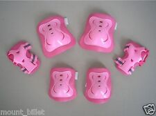 Roller Blading Wrist Elbow Knee Pads Blades Guard 6 PCS Set L Size in Solid Pink